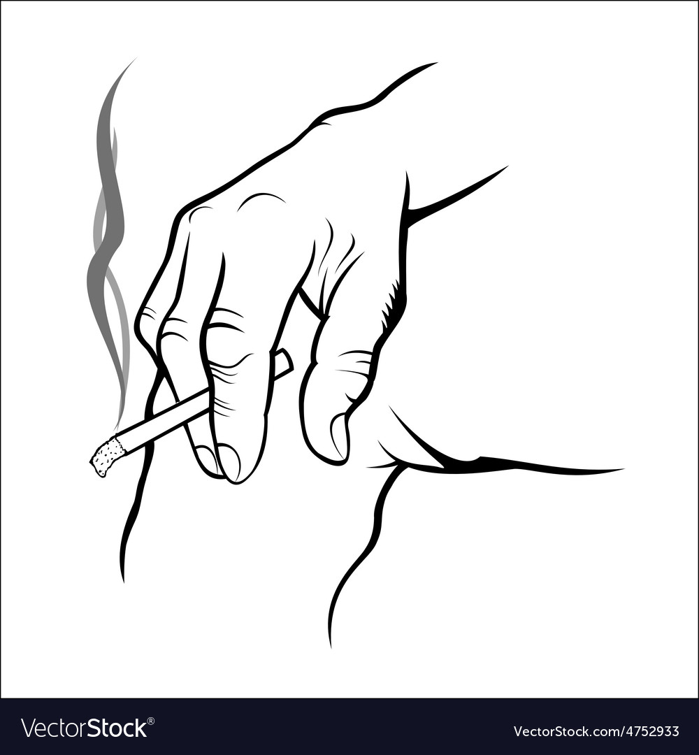 Hand holding cigarette vector