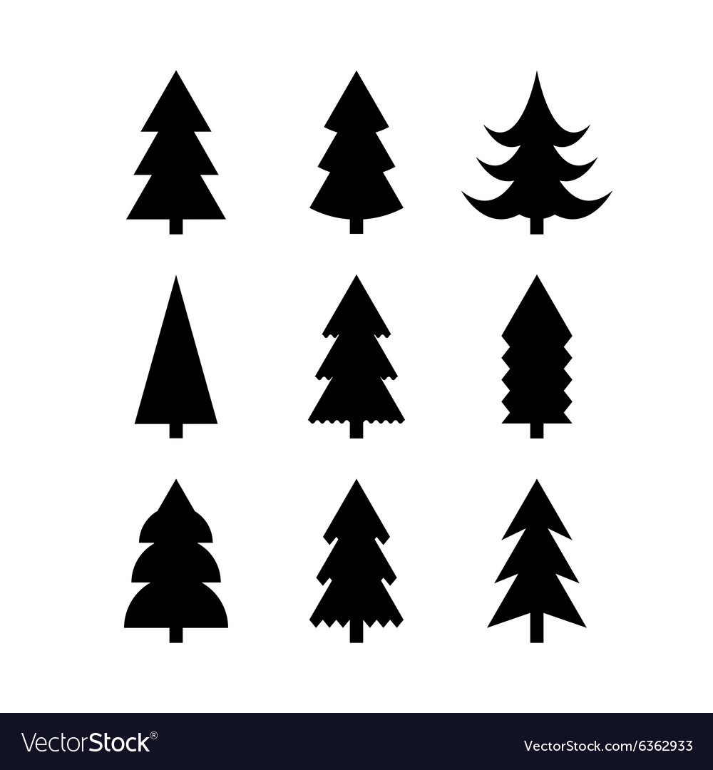 Simple silhouettes of christmas trees vector