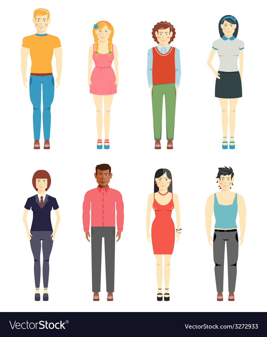 Young men and girls casual style vector