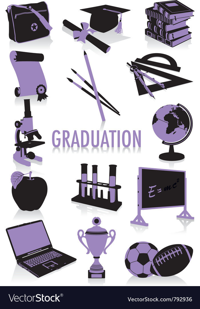 Graduation silhouettes vector