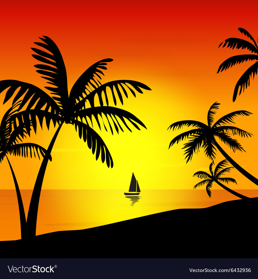 Sunset on the island vector