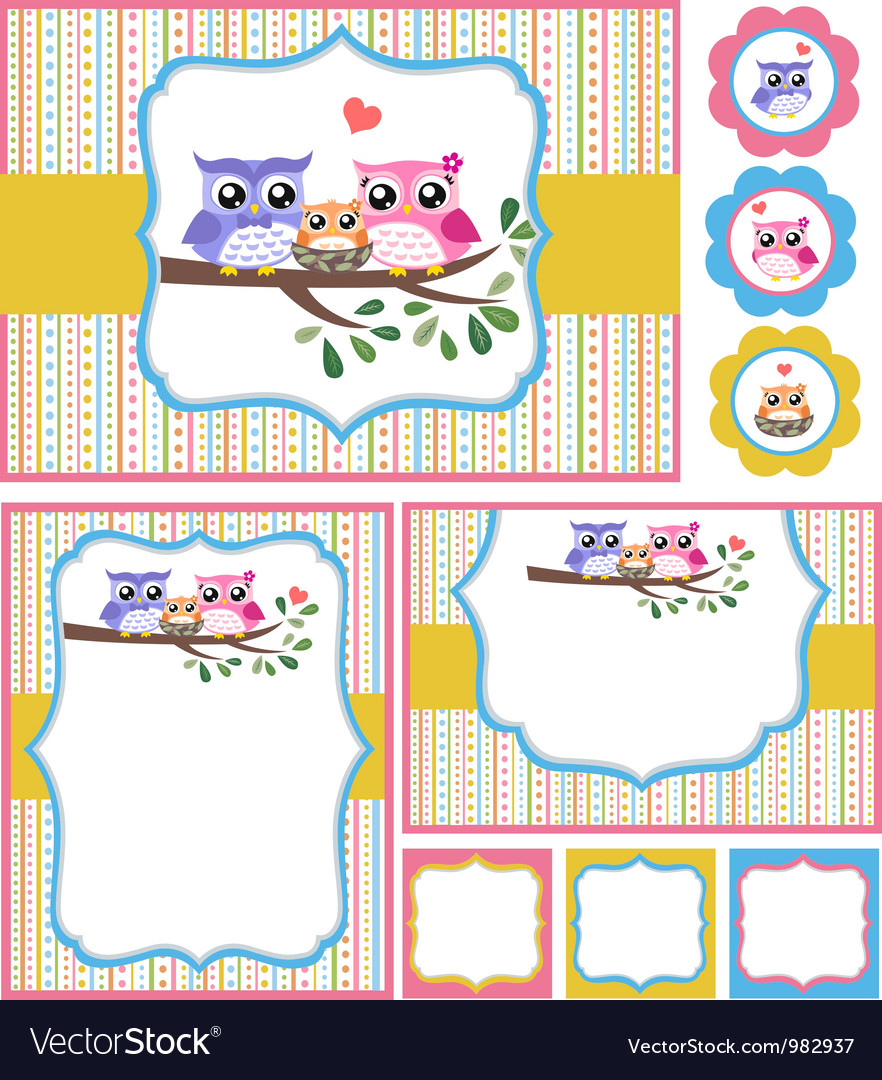 Baby shower bird card set vector