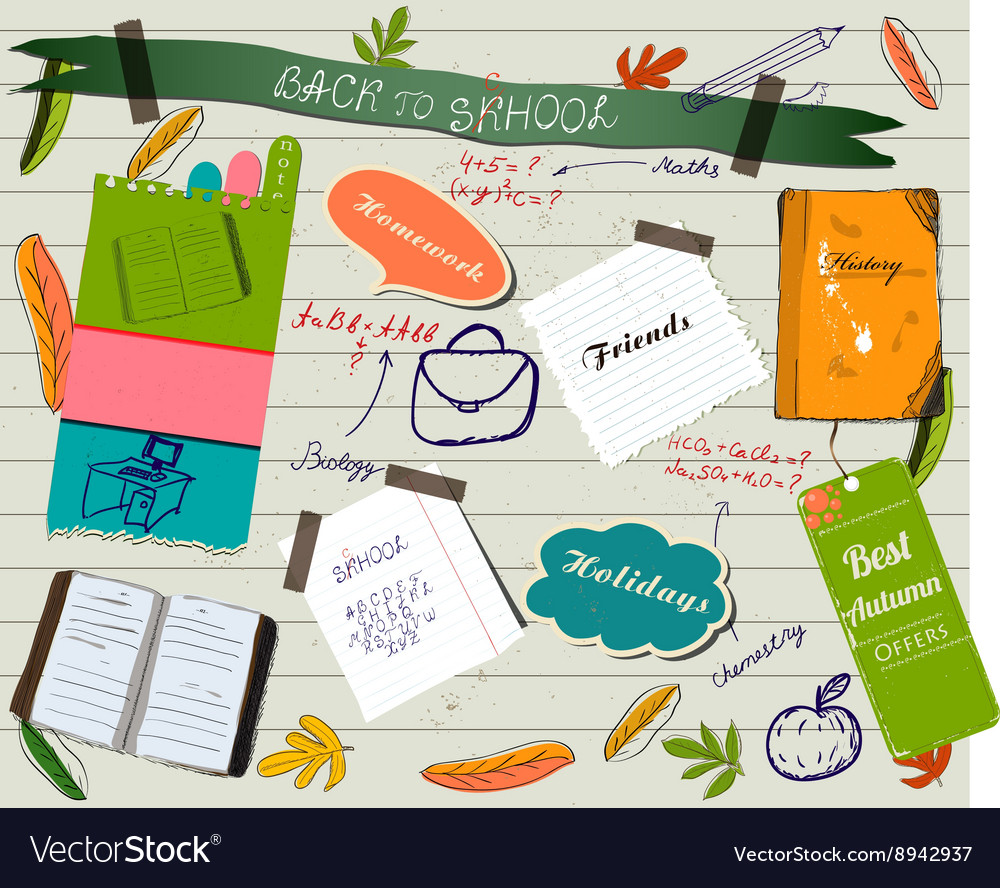 Back to school scrapbooking poster vector