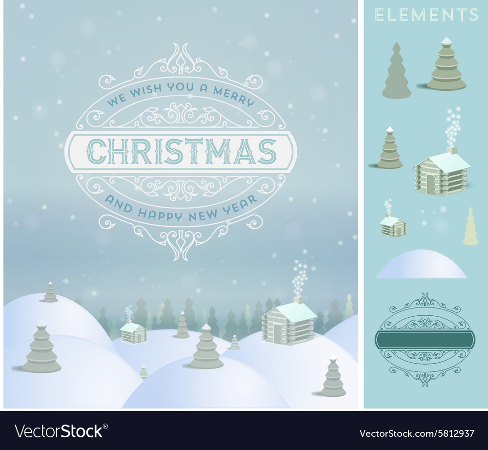 Merry christmas holidays wish greeting card and vector