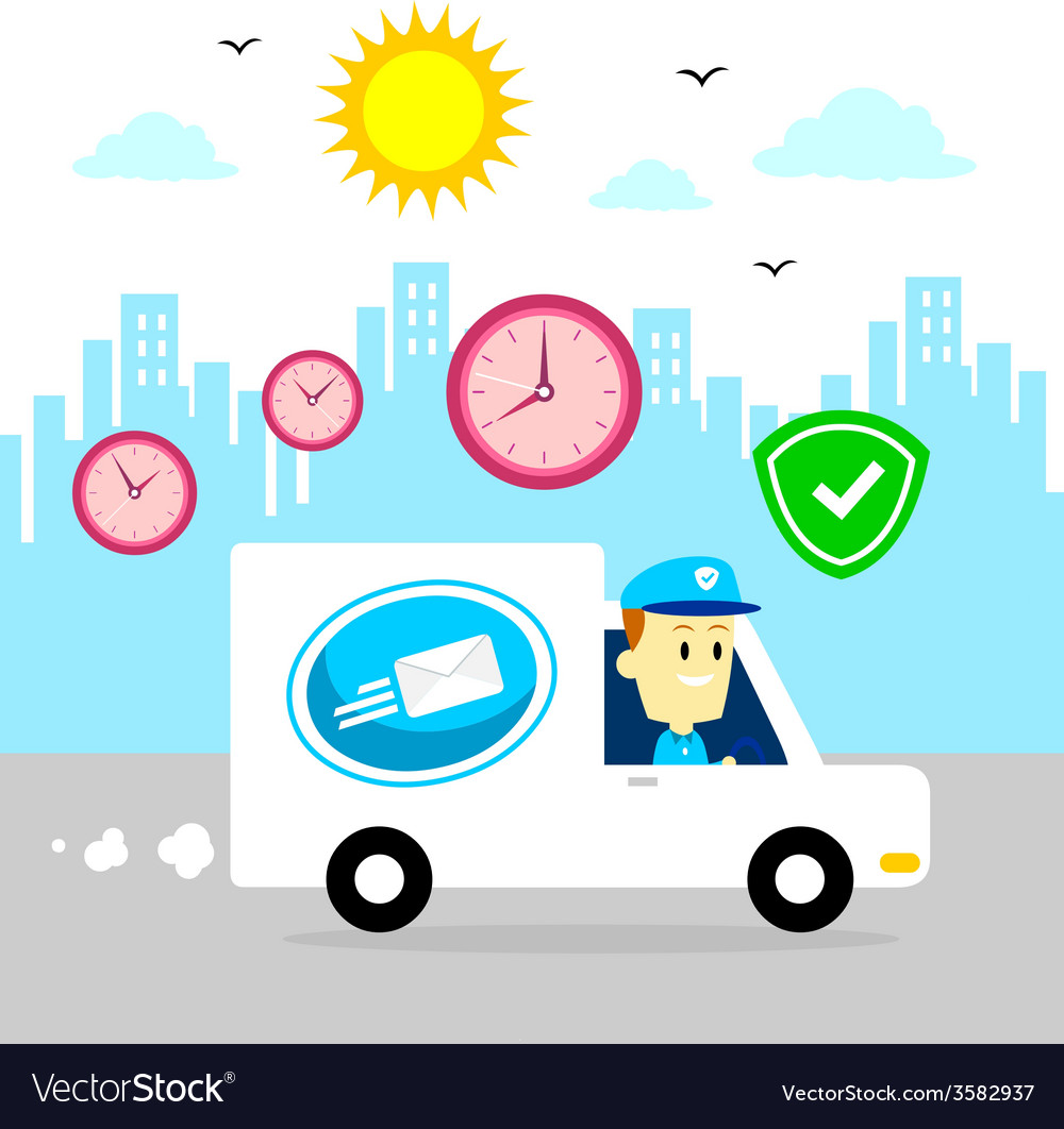 Postman driving van fast and safe vector