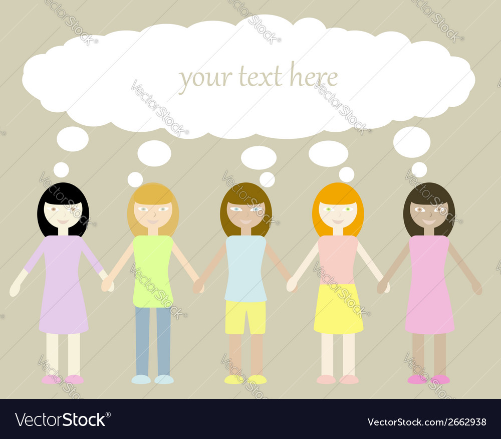Five different girls with thinking bubble vector