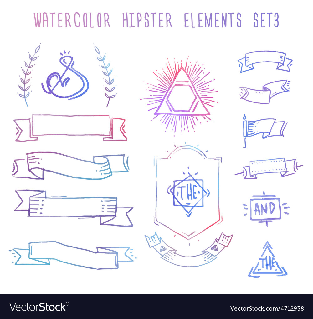Set of hand drawn blank vintage badges borders vector