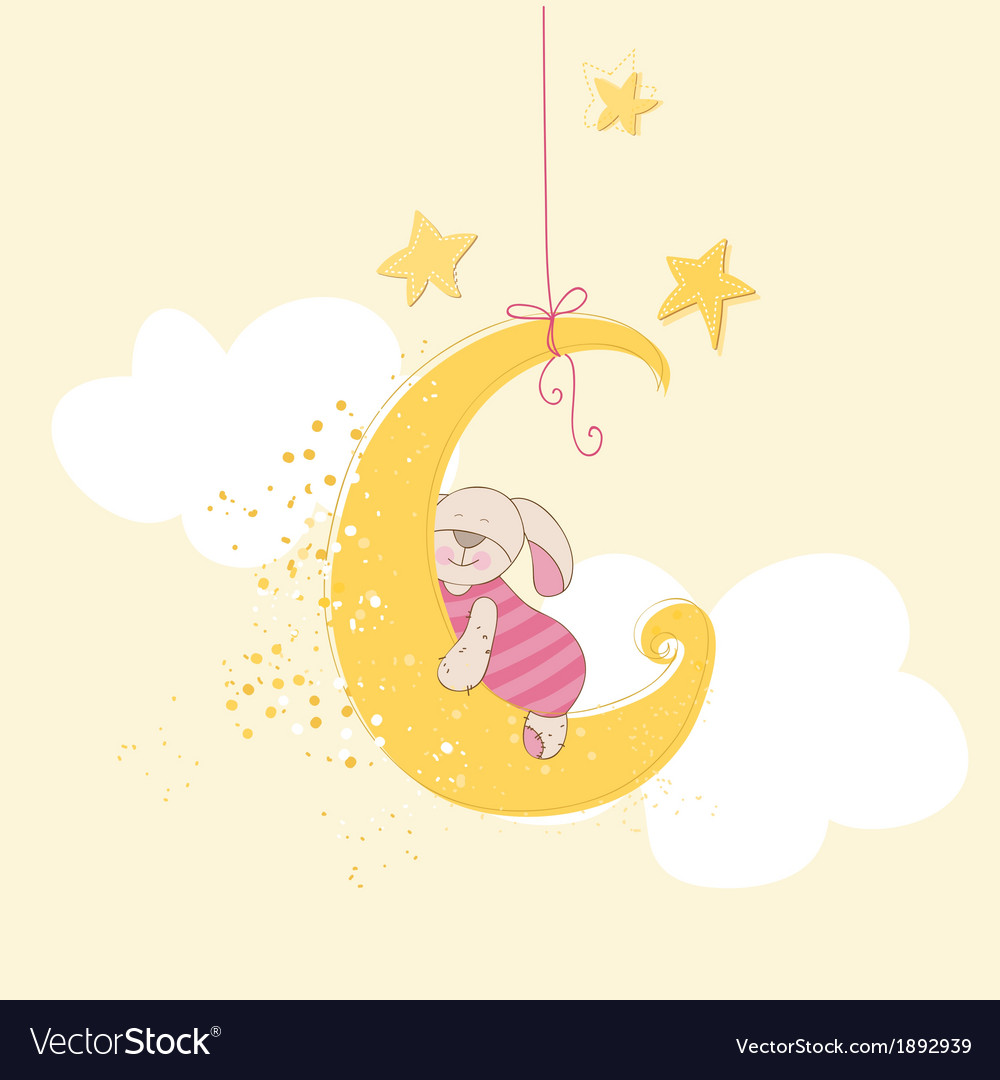 Baby shower or arrival card  sleeping baby bunny vector