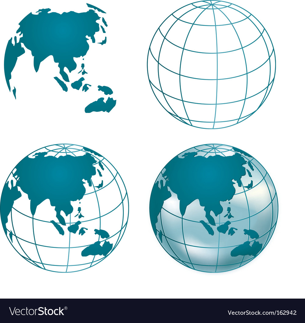 Chrome globe of asia vector