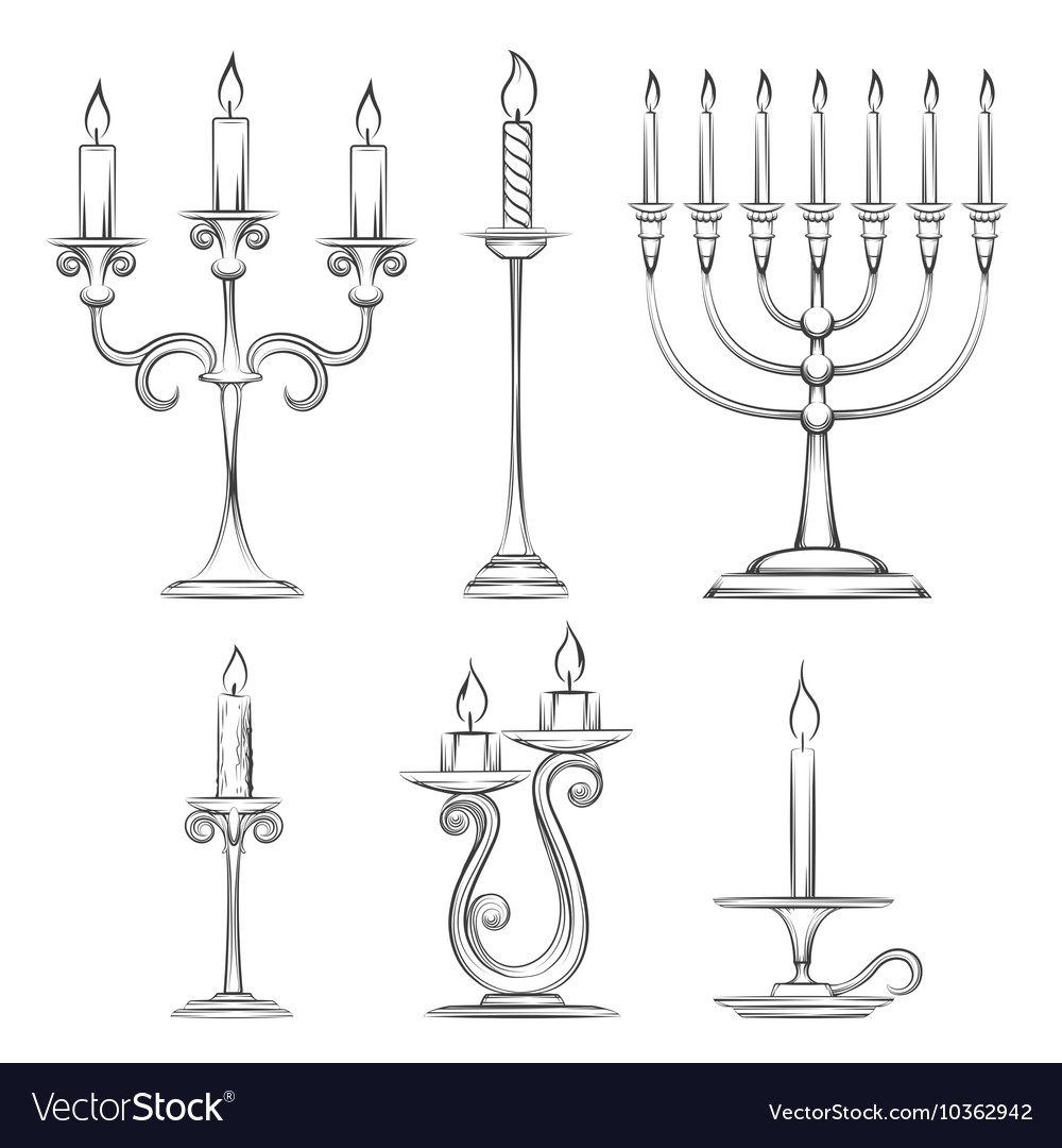 Hand drawn candlesticks vector