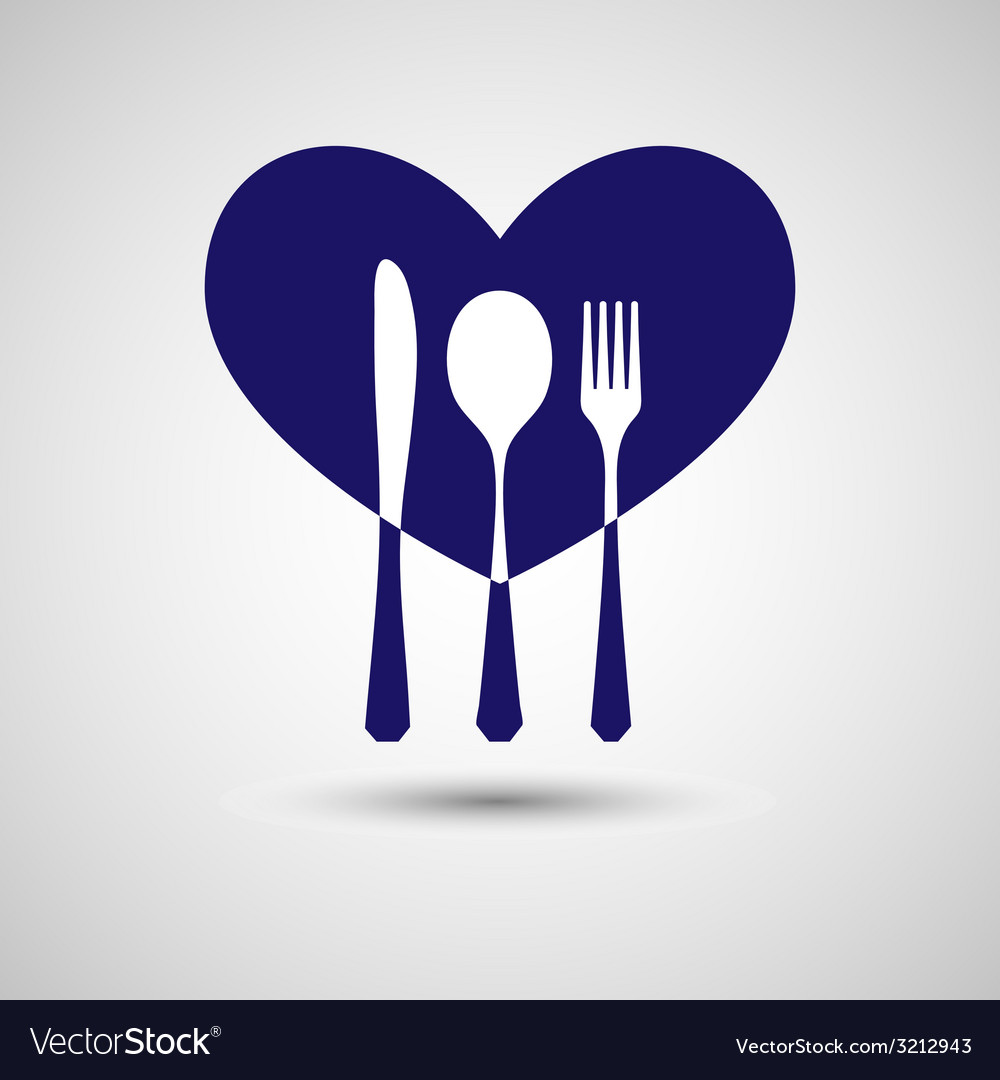 Cutlery with heart vector