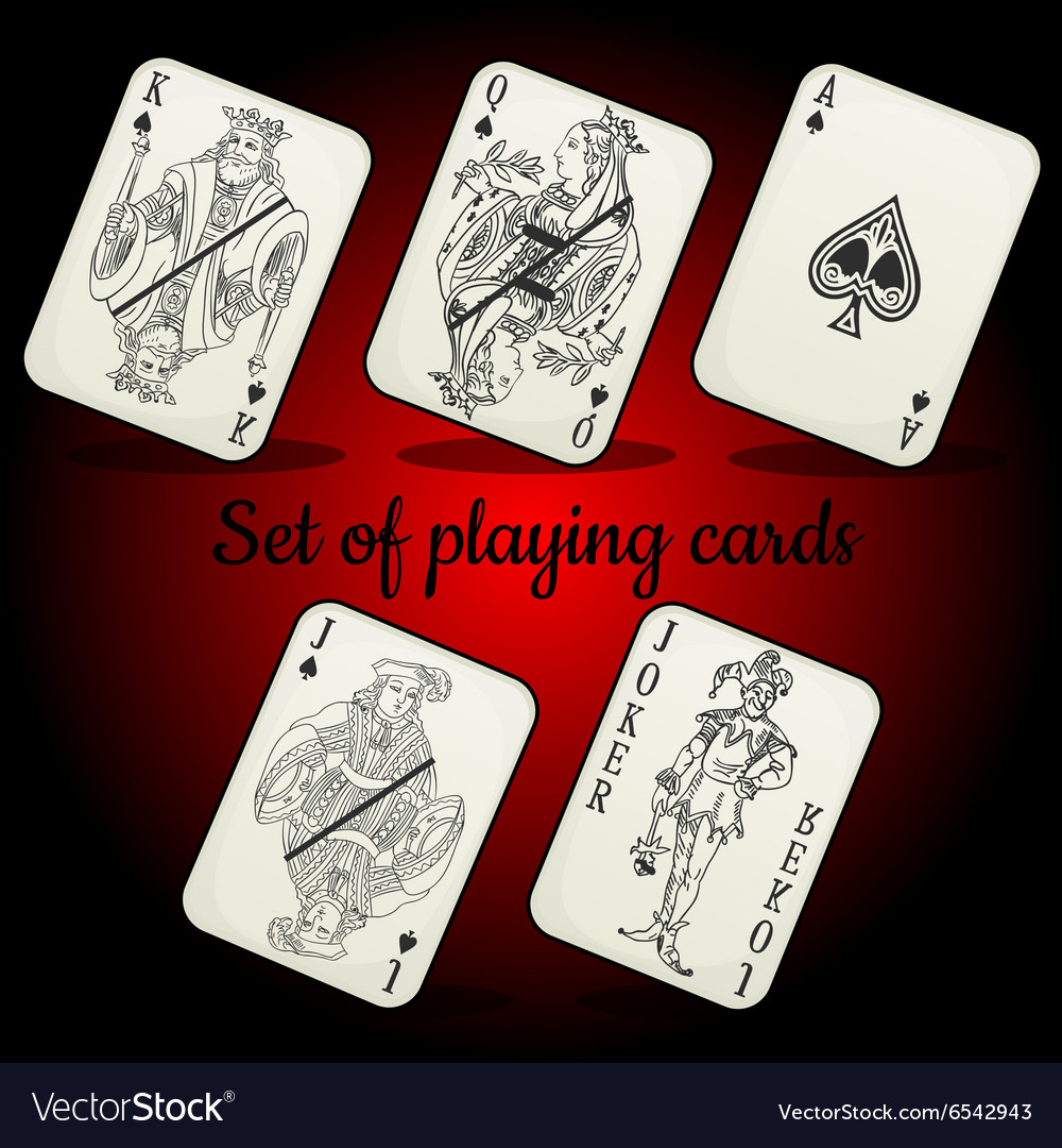 Set of playing cards on a red background vector