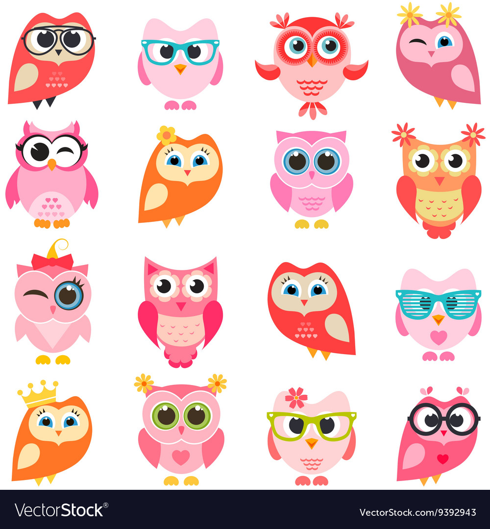 Set of red and pink owls vector