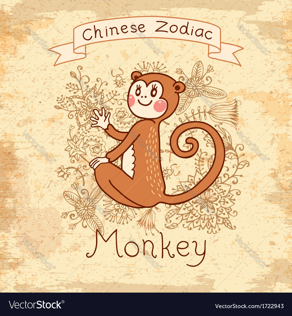 Vintage card with chinese zodiac  monkey vector