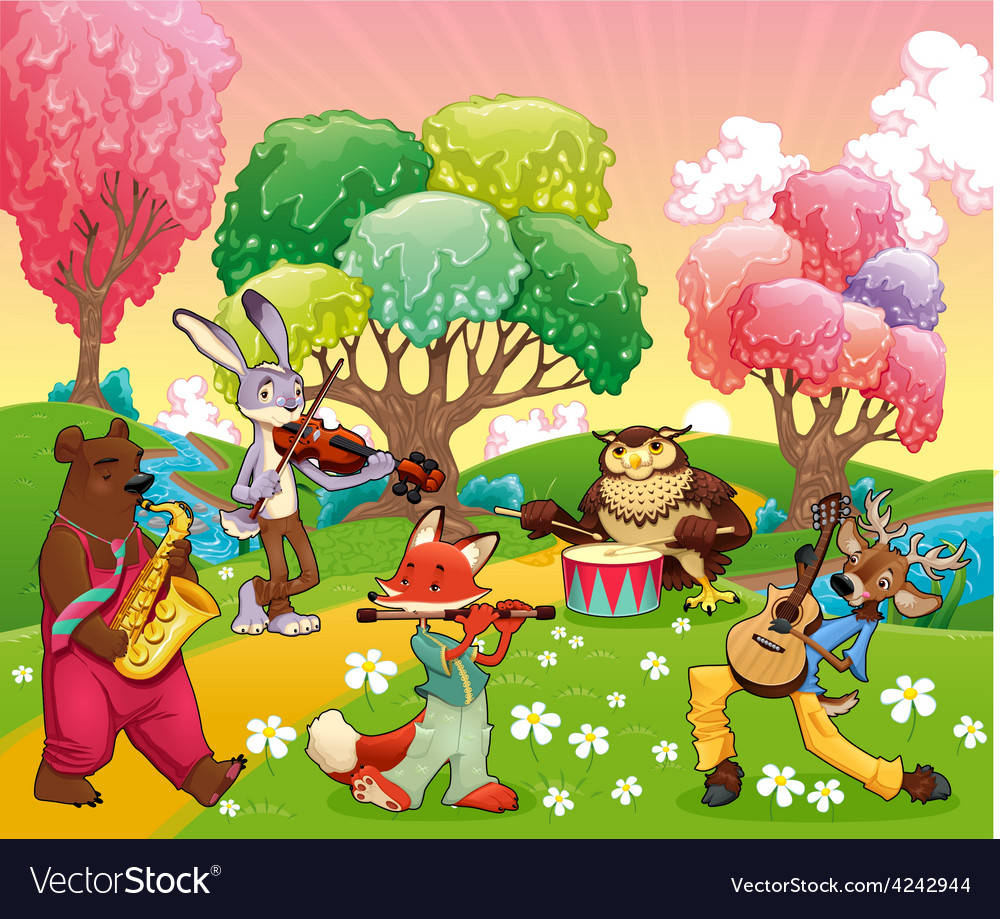 Musician animals in a fantasy landscape vector