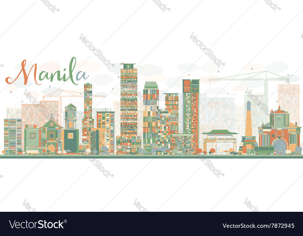 Abstract manila skyline with color buildings vector