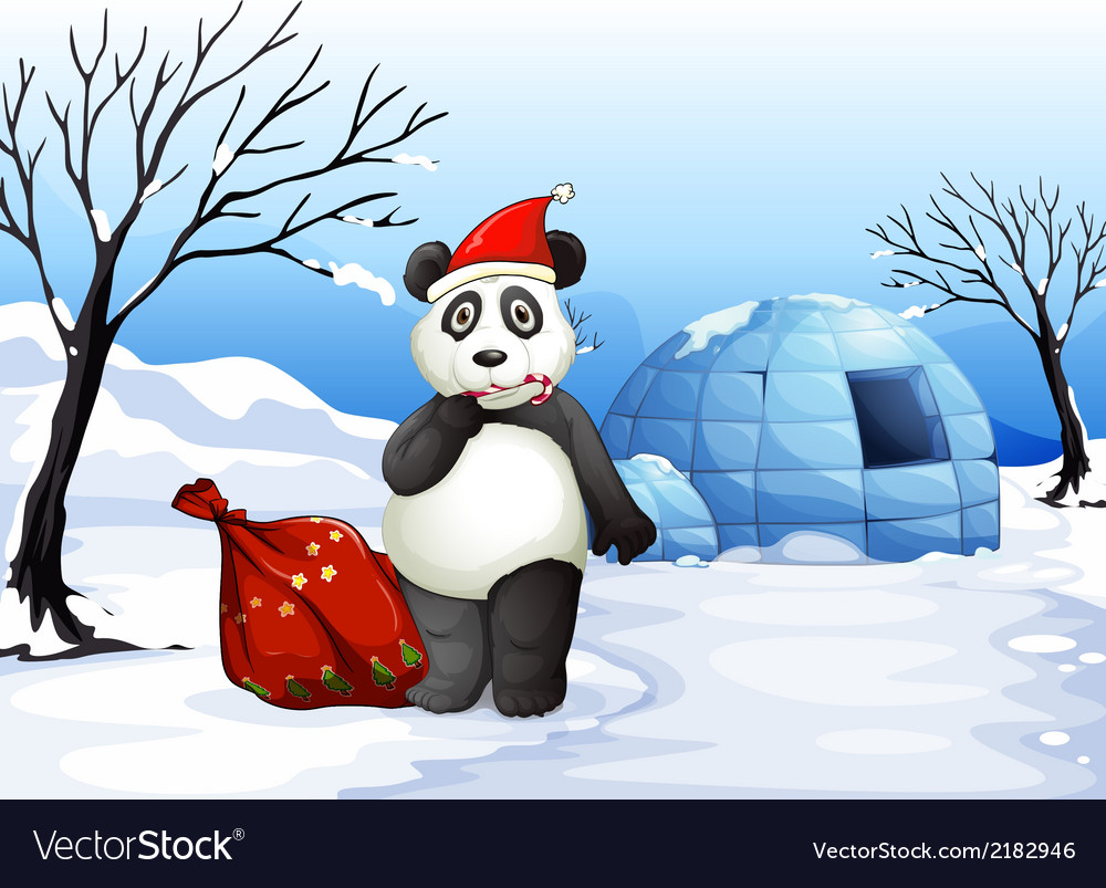A panda with a red sack vector