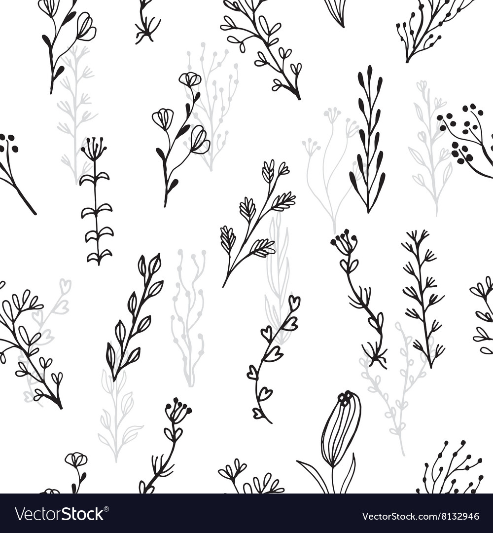 Abstract floral seamless pattern with branches and vector