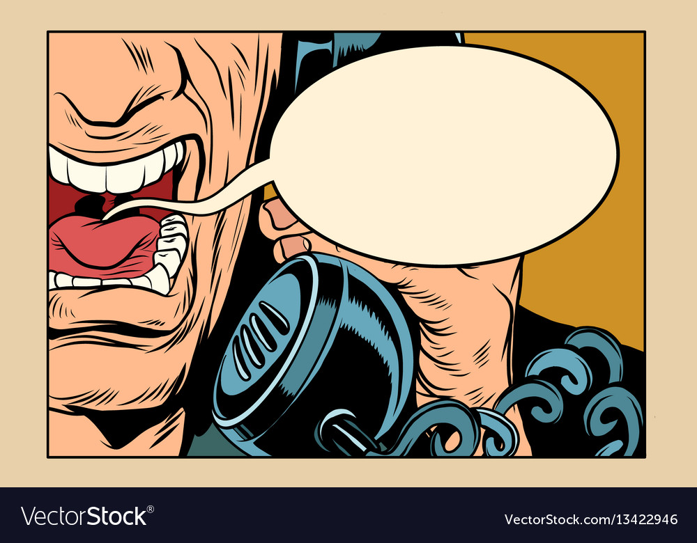 Angry man talking on the phone comic cloud vector