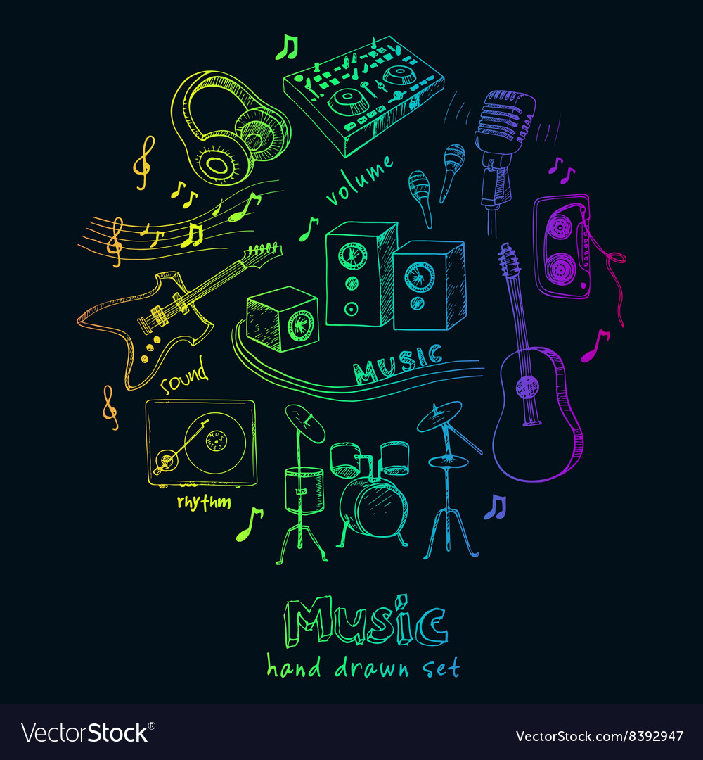 Abstract music background with musical instruments vector