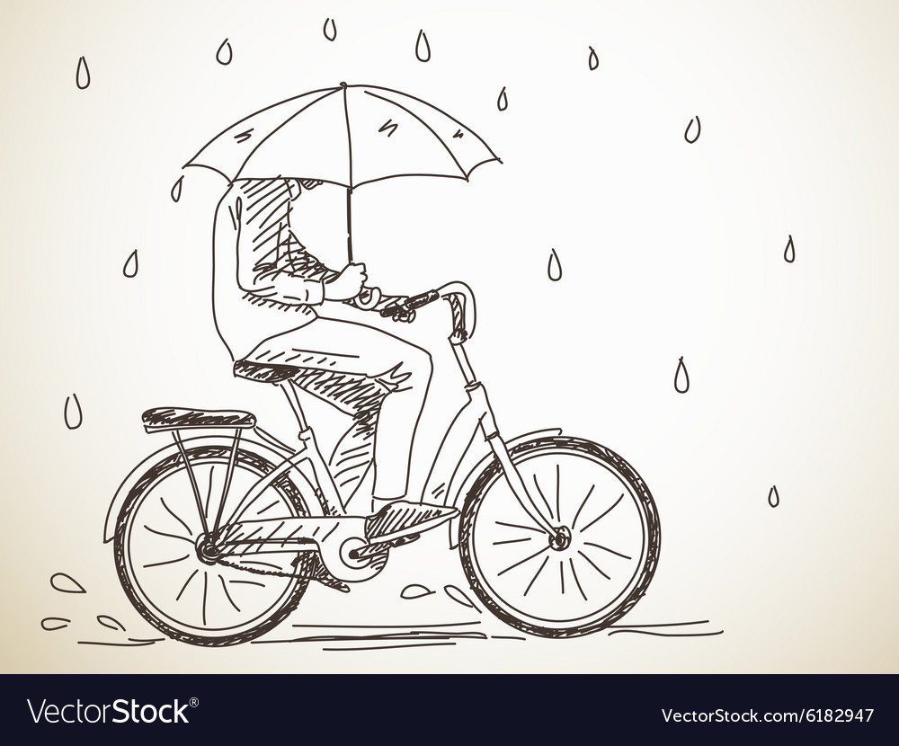 Bicyclist with umbrella vector