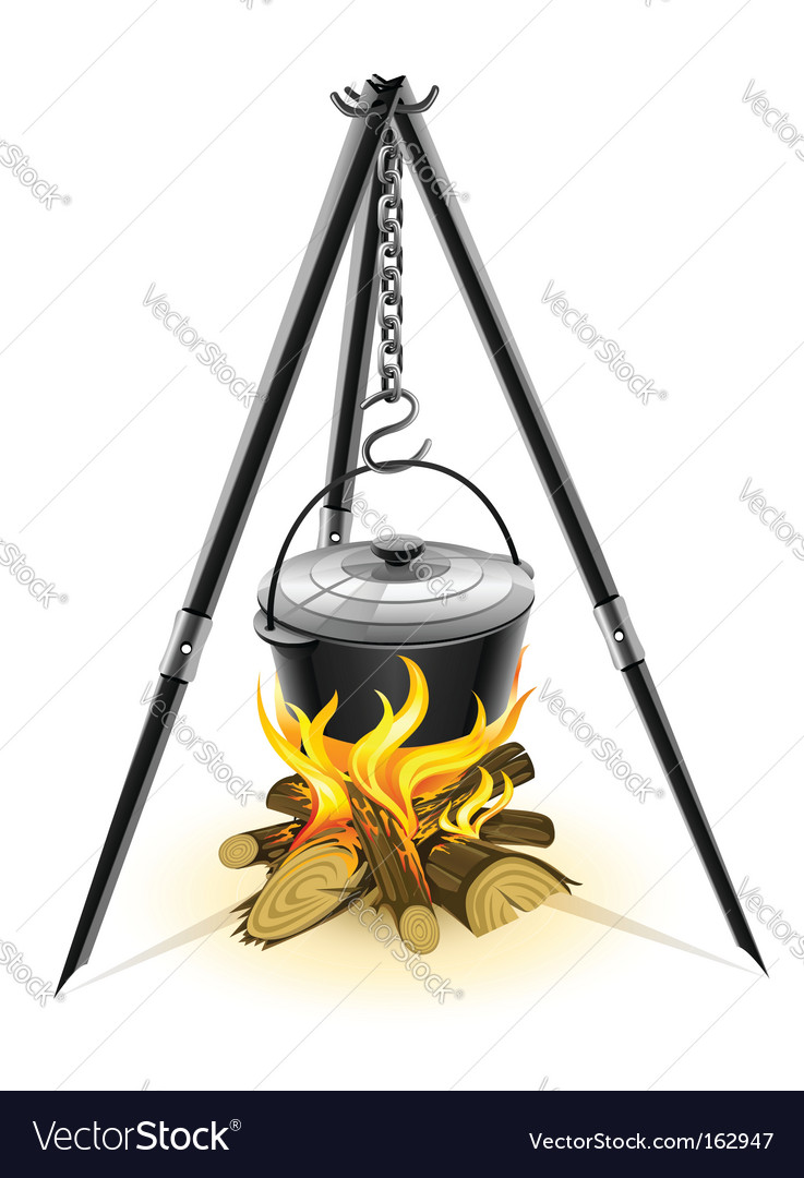 Kettle for campfire on tripod vector