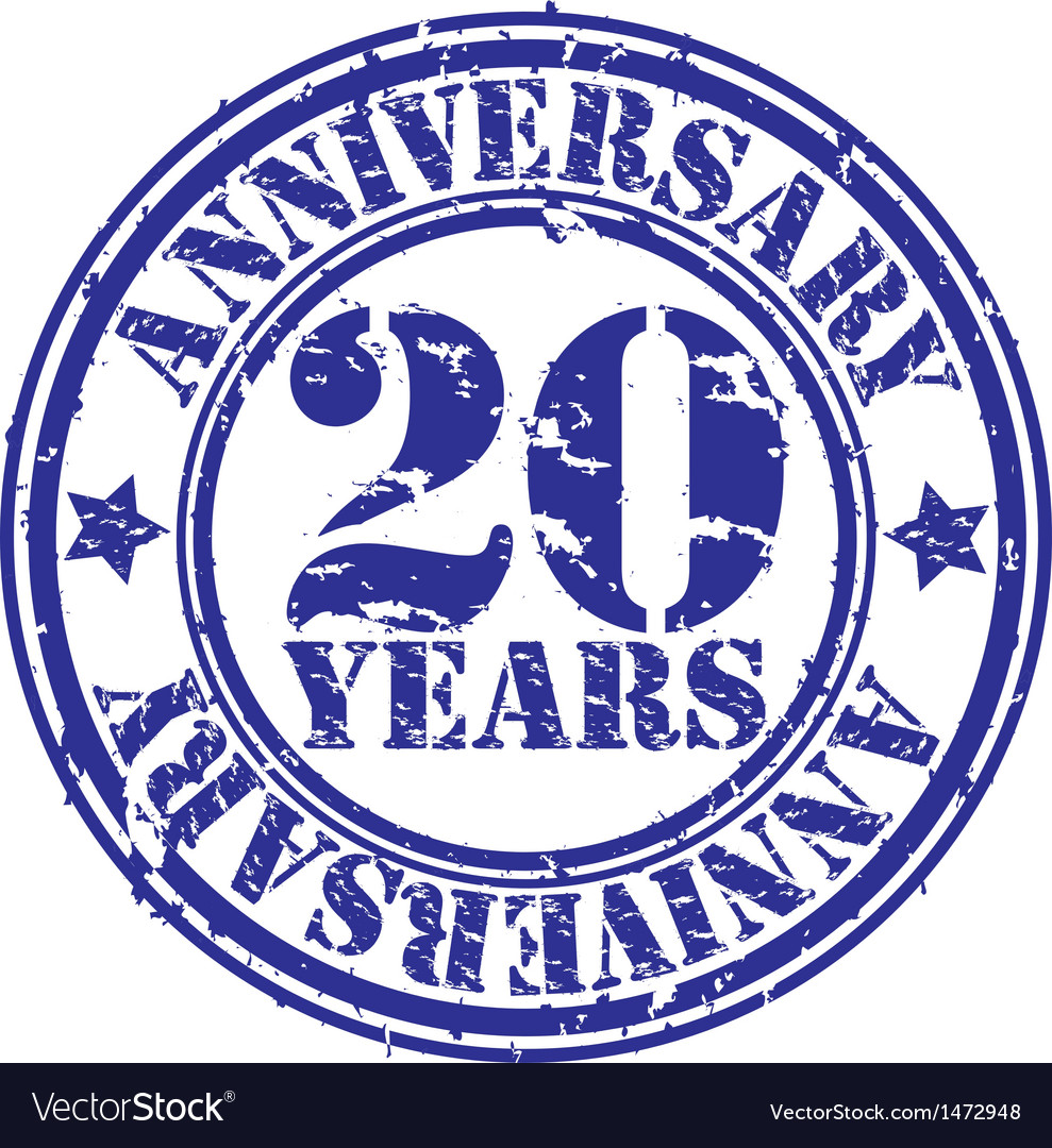 Grunge 20 years anniversary rubber stamp vector