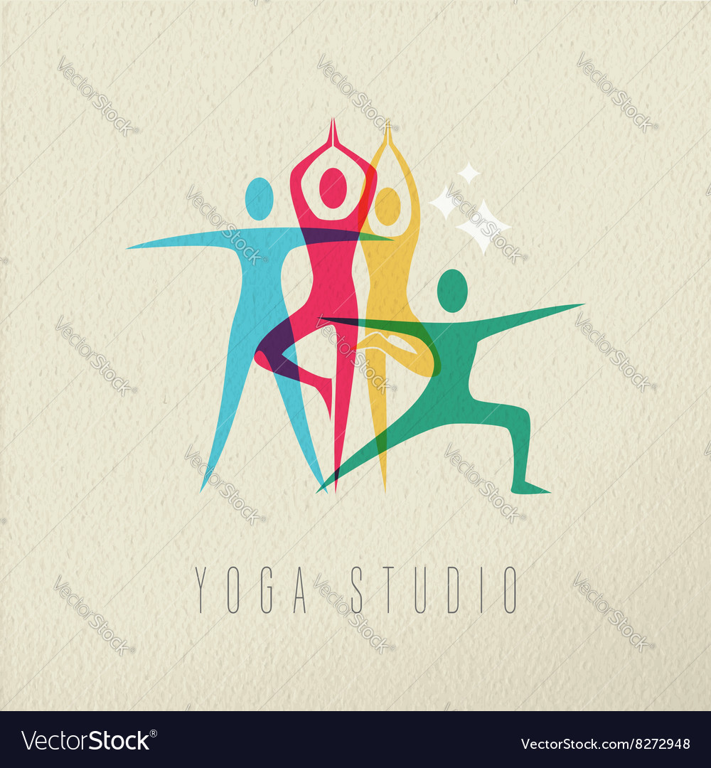 Yoga studio icon design of people doing meditation vector
