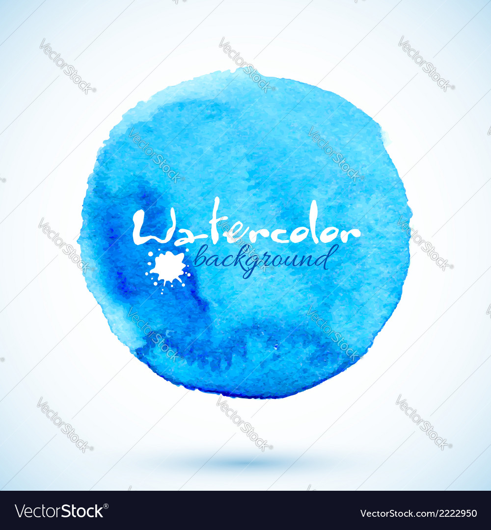 Blue isolated watercolor painted circle vector