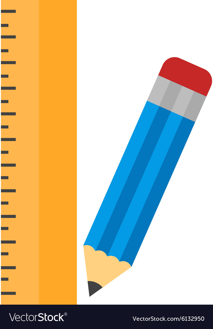 Pencil and ruler vector