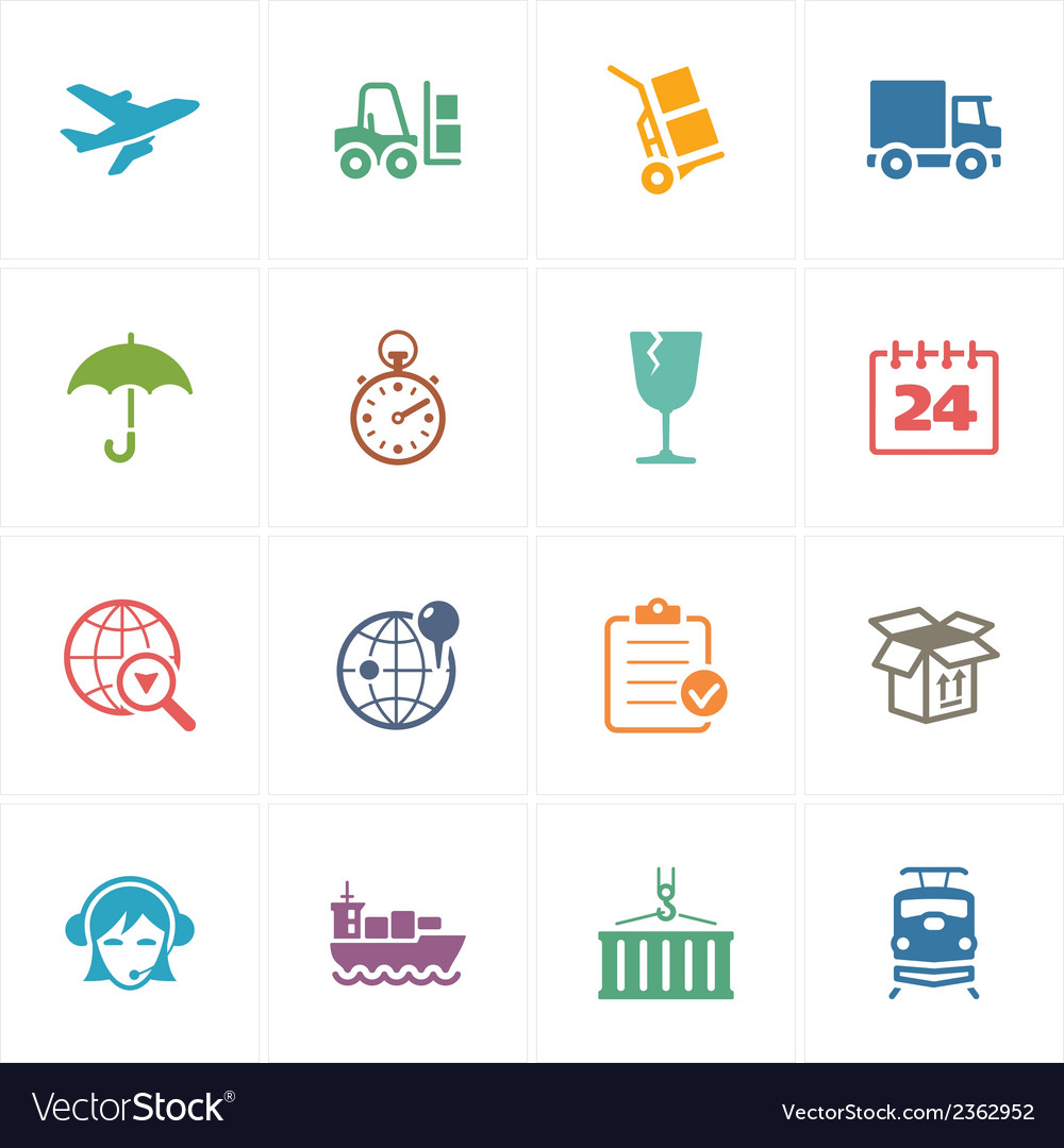 Logistics icons  colored series vector