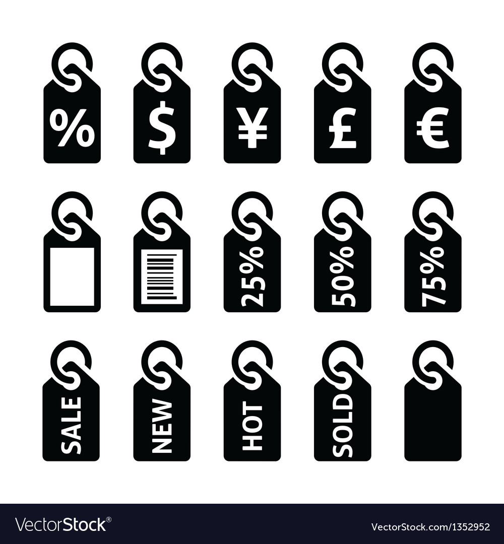 Shopping price tag sale icons set vector