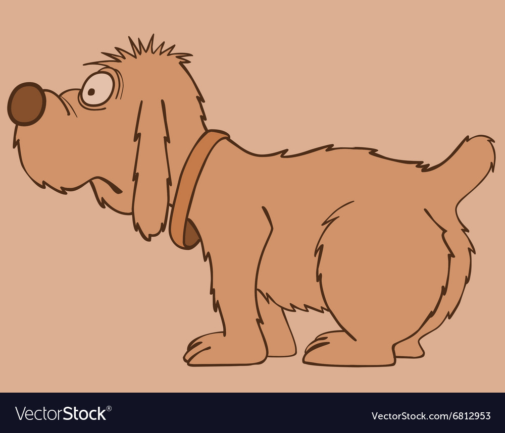 Cartoon shaggy dog standing sideways vector