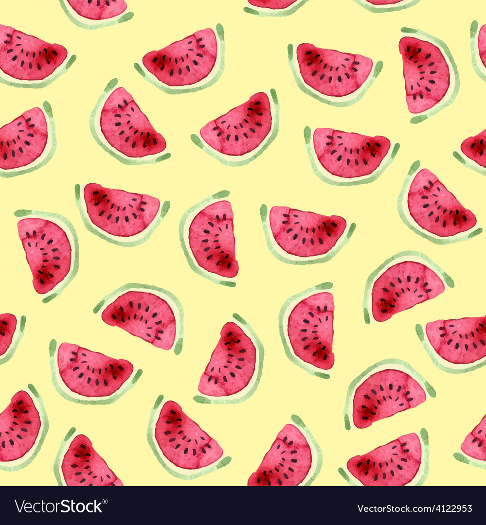 Watermelon seamless pattern hand drawn watercolor vector