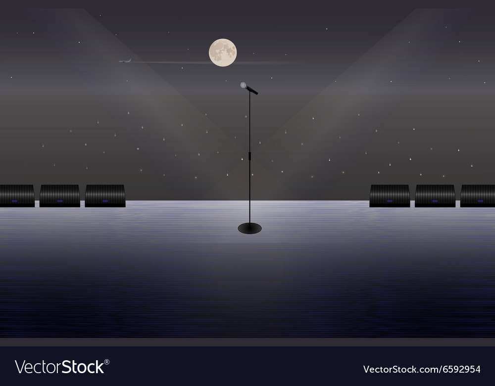 Microphone on a stage in the open air vector