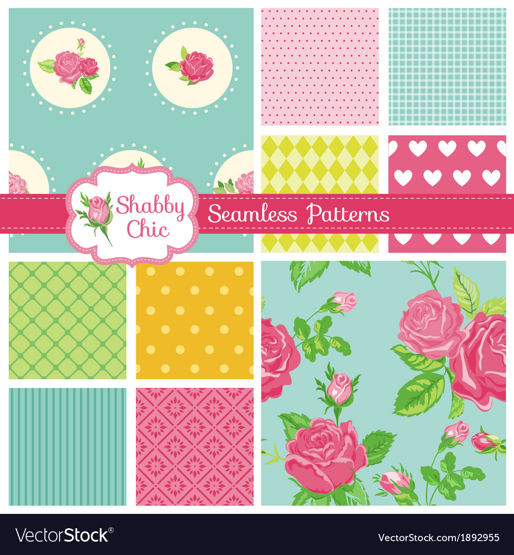 Set of floral seamless patterns and backgrounds vector