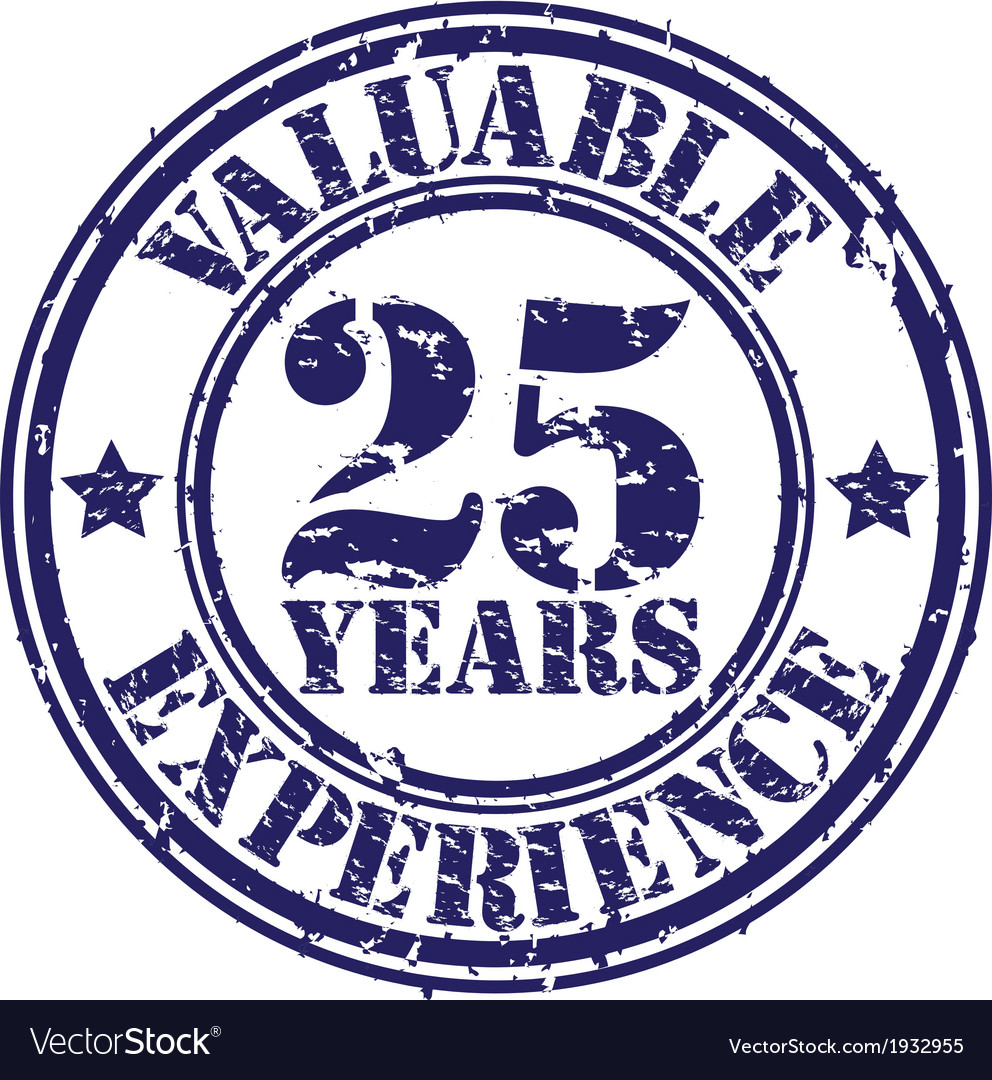 Valuable 25 years of experience rubber stamp vect vector