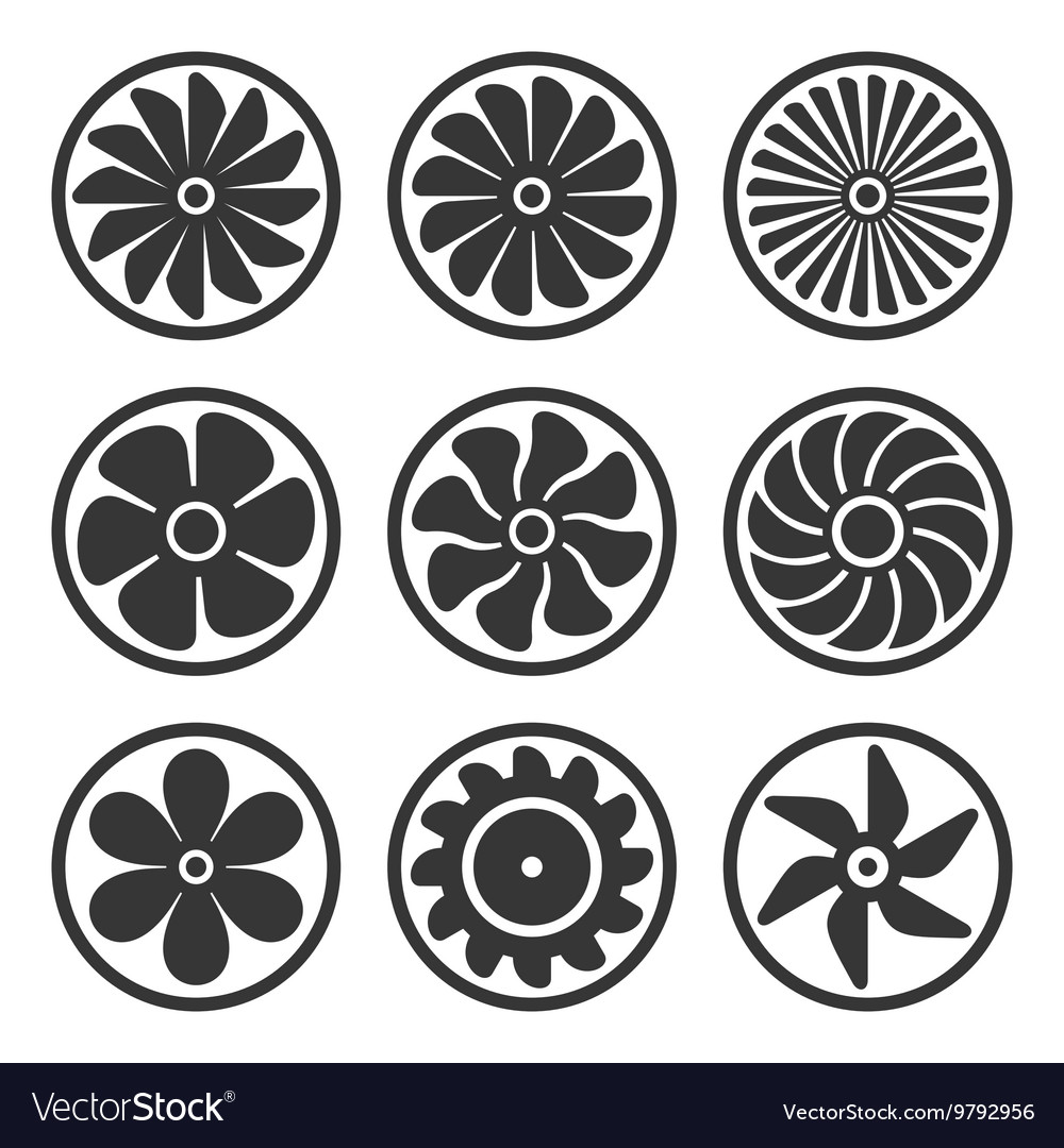 Turbines and fan icons set turbojet engine power vector