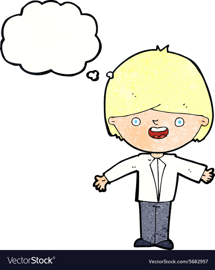 Cartoon happy boy with open arms with thought vector