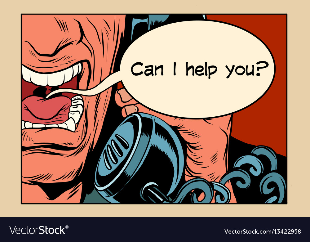 Can i help you angry man talking on the phone vector