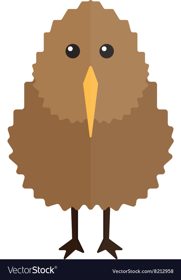 North island brown kiwi bird cartoon flat vector