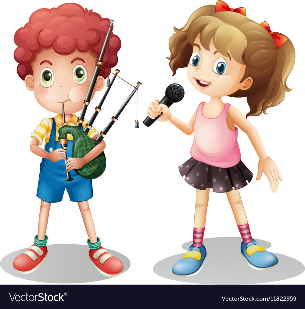 Boy playing bagpipe and girl singing vector