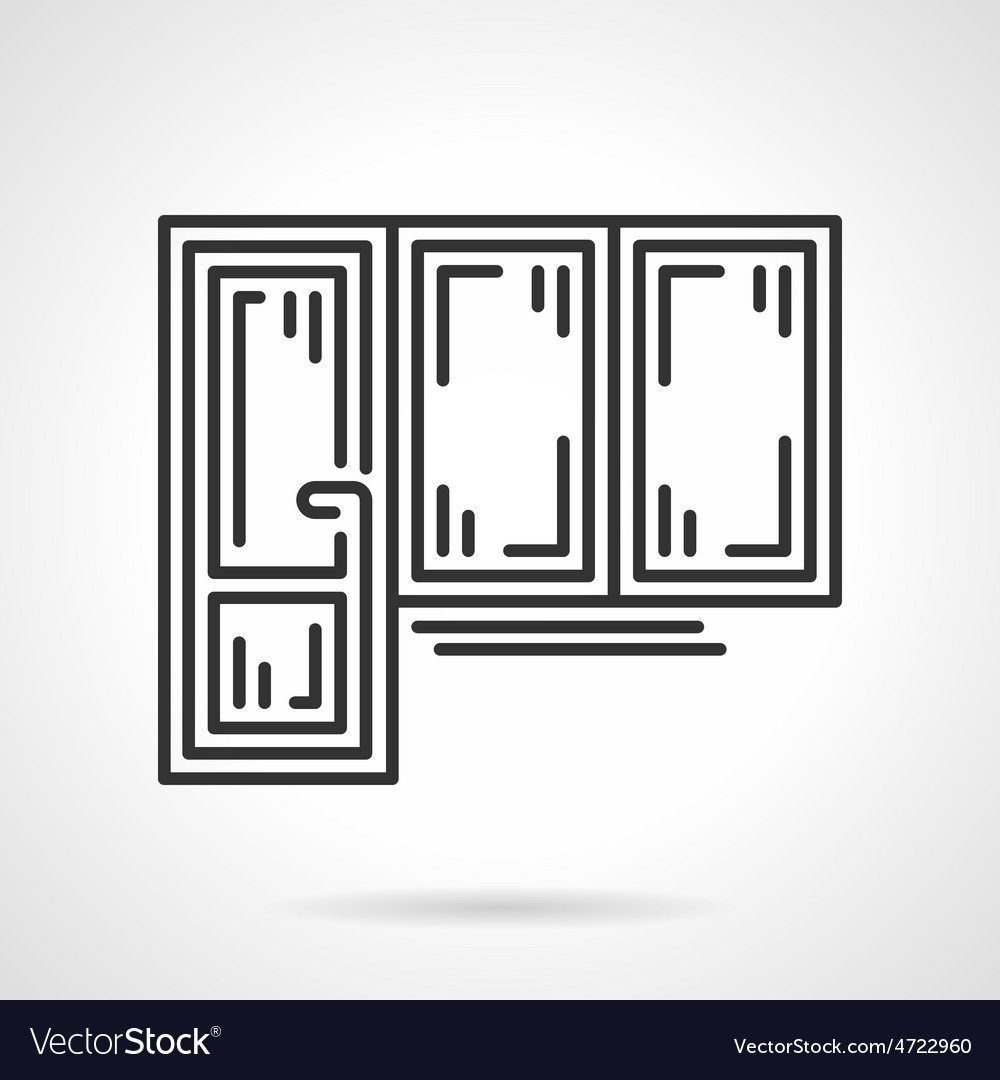 Balcony door black line icon vector
