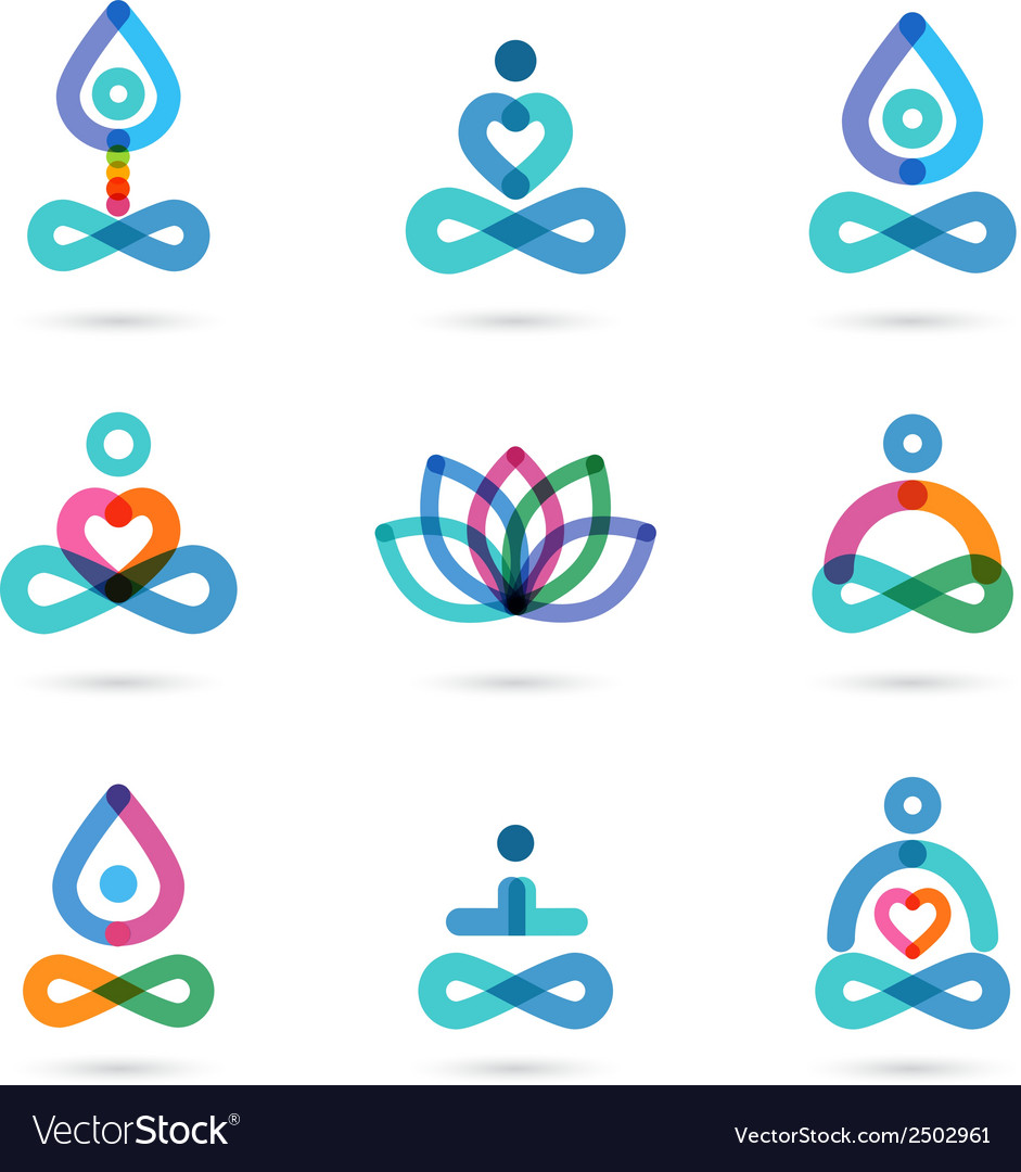 Collection of yoga icons elements and symbols vector