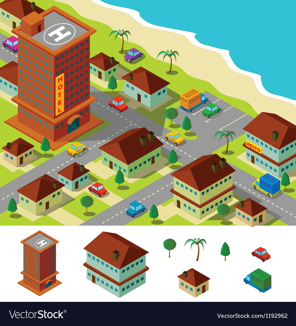 Isometric hotel near beach vector