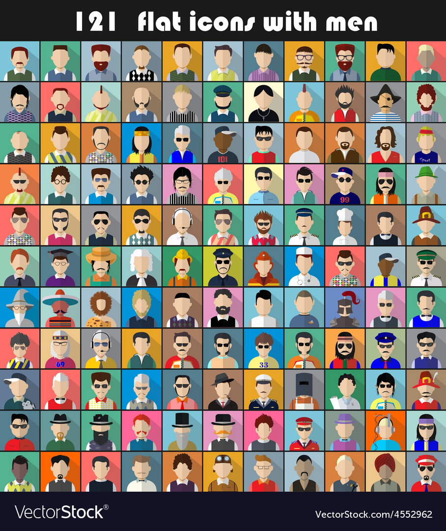 Set of flat icons with men vector