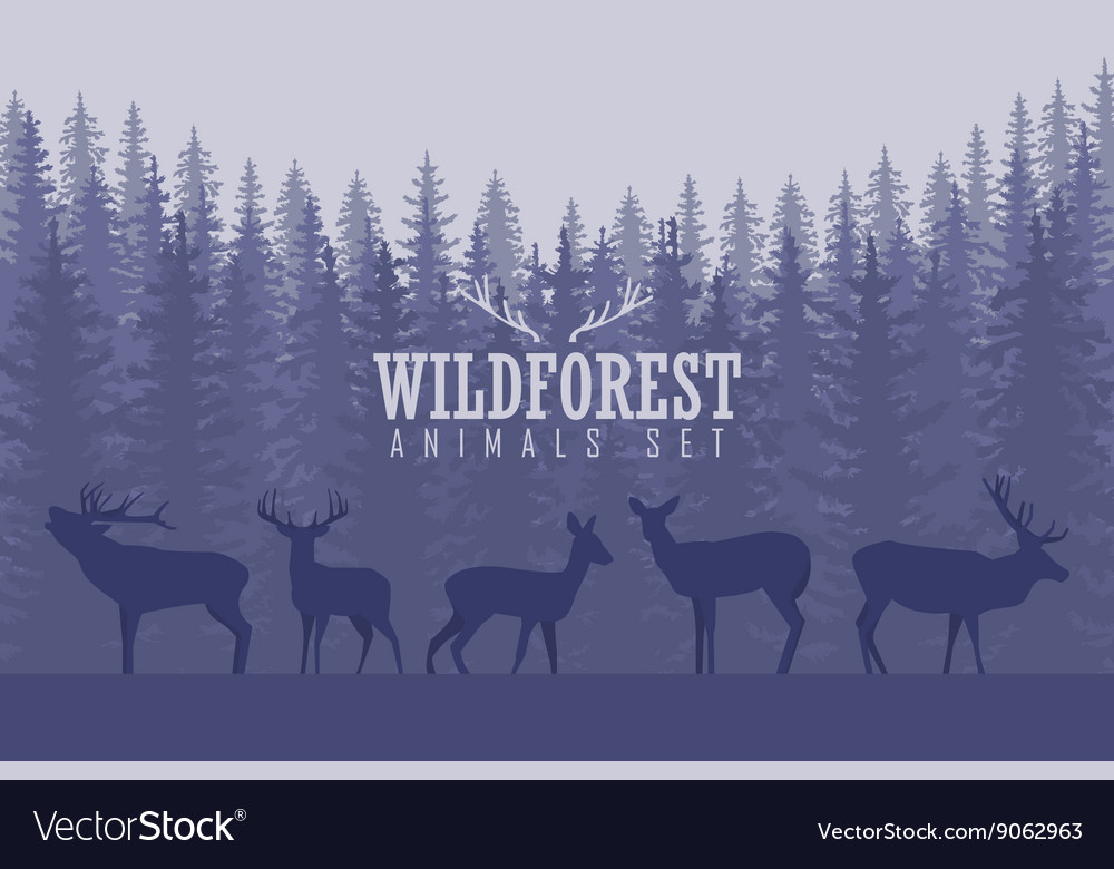 With trees and deer silhouettes vector
