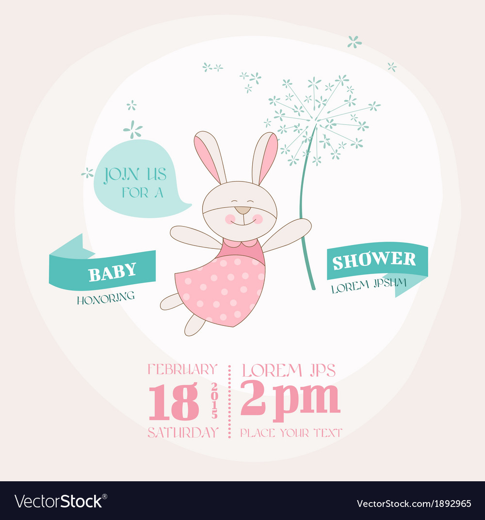 Baby shower or arrival card  baby bunny vector