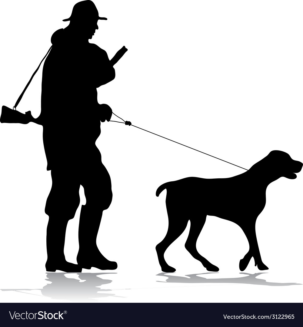 Hunter and dog silhouette vector