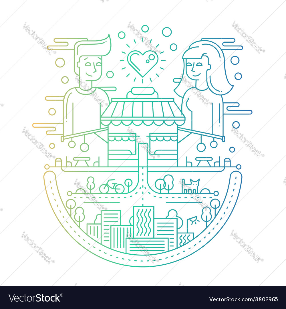 Love in the city  line design vector